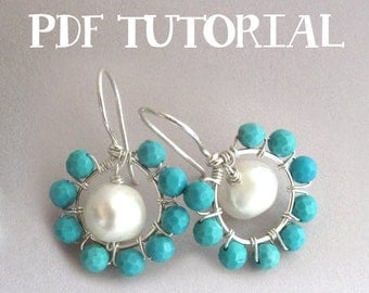 Wire Wrap Tutorial - Circle 'Halo' Hoop Earrings, PDF Tutorial, Jewelry Making Instructional How-To