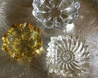 Lot of Three Vintage Clear Glass Ashrays/Cigarette Holders/Trinket/Notion