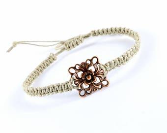 Macrame bracelet, linen cord bracelet, eco-friendly, natural - square