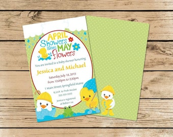 April Showers bring May Flowers Baby Shower Invite, Custom, 5x7, PDF File, Printed, Animals, Duck, Frog, Rain, Umbrella, Banner, Chal