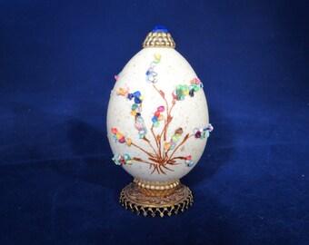 Decorative Egg on Pedestal with Raised Details, Display Egg, Egg on Pedestal, Flower/Tree on Egg