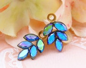 Vintage AB Sapphire Blue Rhinestone Leaf Drops Dangles Charms in Brass 1 Ring Settings 21x11mm - 2