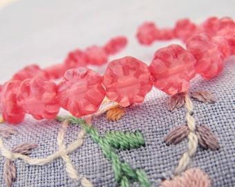 Rose Pink Opal 9mm Puffy Daisy Flower Glass Sunflower Beads  10