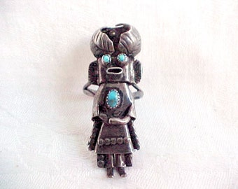 Vintage Sterling Silver & Turquoise Kachina Ring - Genuine Native American Zuni Tribe - Mary and Olson Leekity - Size 7
