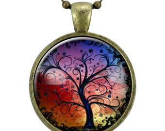 Tree Necklace, Bronze Tree Of Life Necklace Pendant Charm, Woodland Jewelry, Gift Ideas (0630B25MMBC)