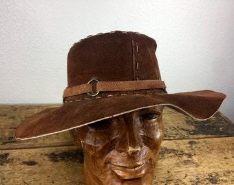Vintage Suede Brown Floppy Hat