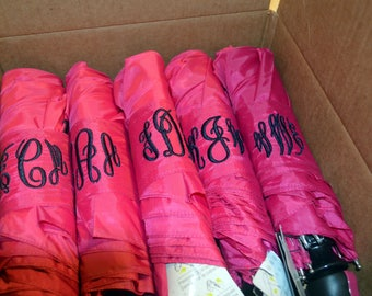 Personalized Monogramed Pink Umbrella, your font choice, Single or Double Monogram Available