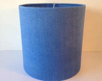Handmade lampshade with vintage linen hemp fabric