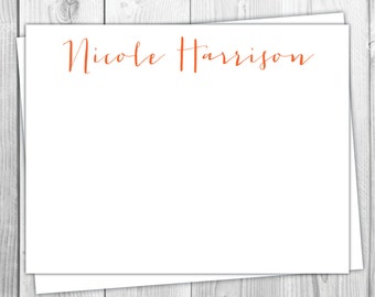Modern Personalized Stationery - Set of 12 - Womens - Flat Note Cards - Modern - Monogrammed - Simple