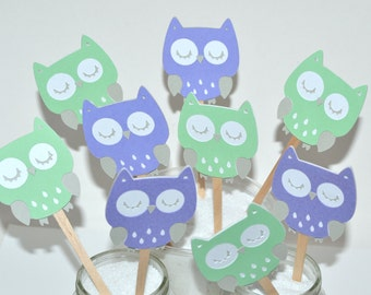12 Owl Cupcake Toppers / Owl Baby Shower Invitation / Owl Baby Shower / Owl  Baby