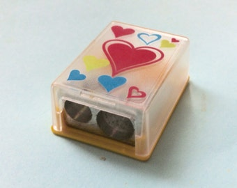Hearts Cased Sharpener. Dual Pencil Sharpener. Kawaii Stationery. Vintage Girly Sharpeners. 90s School Supplies. KUM Germany.