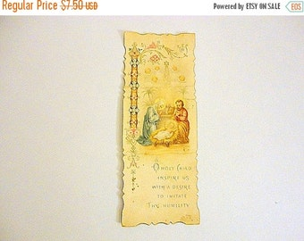 SALE Vintage Colored Prayer Card 1900s Christmas Holy Family Antique Holy cards