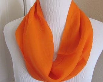 "Lovely Solid Orange Soft Sheer Cowl Scarf 9"" x 15"" - Affordable Scarves!!!"