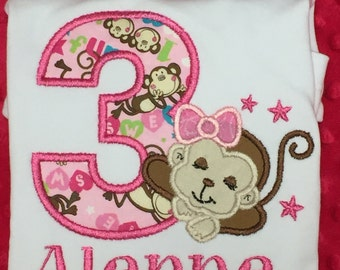 Ari's Angels Personalized Girls Monkey Birthday Shirt Embroidered, Appliqued, Monogrammed