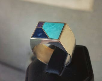 Turquoise sterling silver men's ring size 9