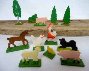 Vintage ERZGEBIRGE Collection of Wood Farm Animals Toys wood toys German made miniatures dog pig hen horse rooster farm girl tree wood toy