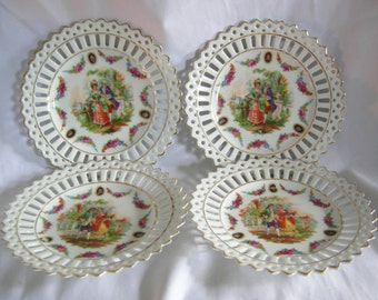 Hand Painted Pierced Reticulated Courting Couple Dishes | Made in Germany | Vintage Circa 1930-1940