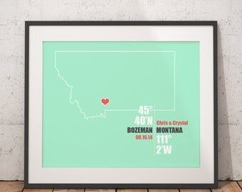 Montana Coordinate Personalized Wedding or Anniversary Gift, Map Print or Canvas, Bridal Shower Gift Ideas, Bride and Groom Names