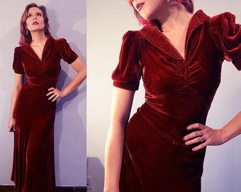 Slinky Velvet 1930s Bias Cut Party Dress / Evening Gown / Red Crimson Burgundy Wine