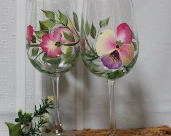Hand Painted Wine Glasses (Set of 2) - Multicolored Pansies
