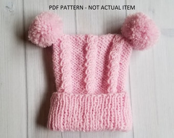 Knit Baby Hat PATTERN, Baby Cable Hat Pattern
