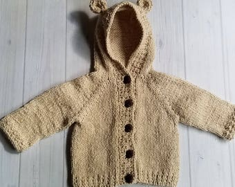 Knit Baby Sweater, Knitted Baby Clothes, Knit Cotton Baby Clothes, Knit Bear Sweater, Knit Baby Sweater with Hood, Baby Bear Outfit