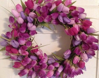 Tulip Wreath,  Purple, Lavender Spring Wreath, Summer Wreath, Front Door Decor, Mother's Day, Easter