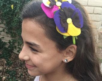 Pansy duo headband, felt flower headband