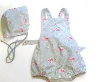 Floral Blue Romper With Reversible Sunbonnet Size 12 to 18 months Baby Girl Gift Idea