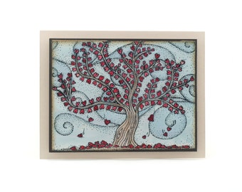 Falling hearts tree, I love you blank card, romantic red hearts, anniversary cards