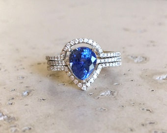 Sapphire Engagement Ring- Rose Gold Sapphire Engagement Ring- Pear Shape Blue Sapphire Engagement Ring- Genuine Sapphire Engagement Ring Set