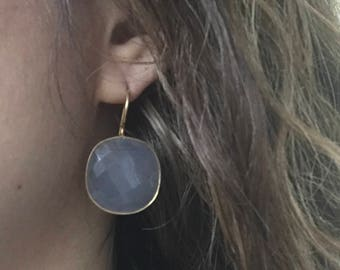 Gray Bridesmaid Dangle Earring- Square Gemstone Drop Earring- Gold Cushion Earring- Classic Everyday Earring- Sterling Silver Earring
