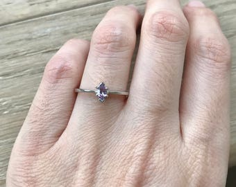 Amethyst Marquise Stackable Ring- Dainty Tiny Promise Ring- Purple Prong Ring- February Birthstone Ring- Purple Amethyst Ring