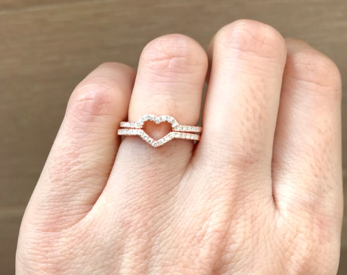 Rose Gold Heart Band- Heart Bridal Band- Heart Promise Band For Her- Heart Engagement Band Set- Bridal Wedding Ring Set- Unique Gifts