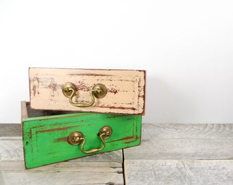 Painted Drawer - Spring Green - Peach - 2 - Upcycled Vintage Drawer
