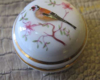 French Limoges Porcelain Bird Branch Lidded Vanity Tabletop Box Jar Container. Magpie Bird. Cherry Blossoms. French Fine Home Accents Decor