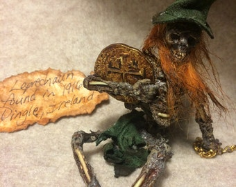 ooak Irish dead LEPRECHAUN  Fantasy fairy miniature doll art goth dollhouse sideshow gaff Hoax joke