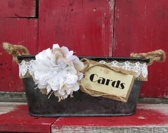 Wedding Card Holder - Rustic Wedding Card Holder - Basket Card Holder - Wedding Card Box - Barn Wedding - Country Wedding - Burlap Wedding