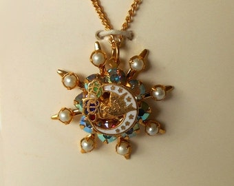 Vintage Religious Enameled Pendant with Bird Dove 8 pearls 7 stars 8 Aurora Borealis Rhinestones ALL prong set