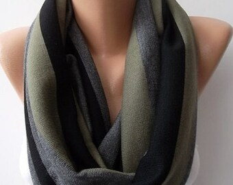 Scarf Christmas Gift Holiday Gift Khaki and Infinity Loop Scarf Gift for Her Winter Fashion Last Minute Gift