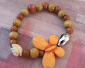 Large Orange Crackle Butterfly Beaded Stretch Bracelet with Rose