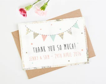 Wedding Thank You Card - Floral Patchwork Bunting