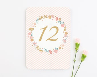 Country Floral Wedding Table Number