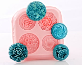 Silicone Button mold Floral Rose Button Mould - Food Safe, Fondant, Cream Cheese Mints, Chocolate - Craft Resin, Clay, Jewelry Mold (770)