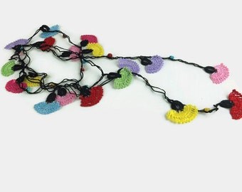 Long Crochet Lariat Necklace , Multicolor Flower Necklace,Crochet Jewelry, Lightweight ,Oya Beaded knitted Necklace , Gift idea , metal free