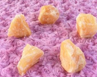 Orange Calcite Stone, Rough & Raw