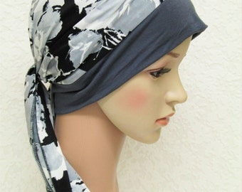 Turban snood, women's turban with ties, chemo head scarf, hat for short hair, jersey head wear, chemo hat