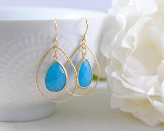 The Lola Earrings - Sea Blue Jade