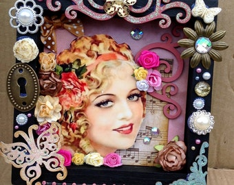 Vintage Lady Shadow Box Wall Hanging