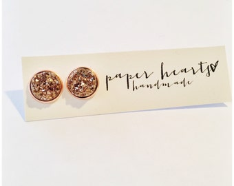 NEW rose gold on rose gold stone studs